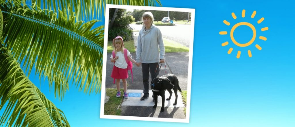 Jess and her guide dog love to walk Ella to school.